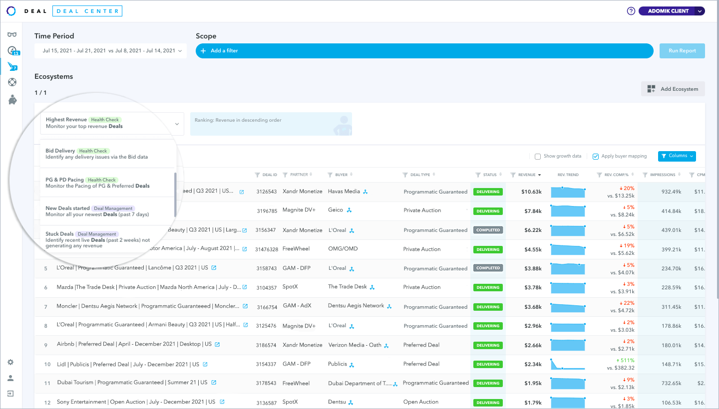 New Deal Center UI with the new ecosystem - Use cases Zoomed